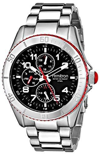 armitron-herren-20-4810rdsv-black-dial-silver-tone-multi-function-uhr