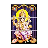 NISH! 'Religious & Spiritual' Collection | Shree Ganesha Painting On Tiles | Wall Art Highlighter Designer Digital Tiles (Ceramic Tiles - Gloss Finish, 2ft X 3ft, UV Cured, Set Of Three 1ft X 2ft Tiles) For Home, Living Room, Drawing Room, Temple