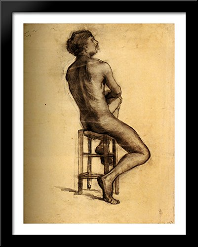 Seated Male Nude Seen from the Back 28x36 Large Black Wood Framed Print Art by Vincent van Gogh