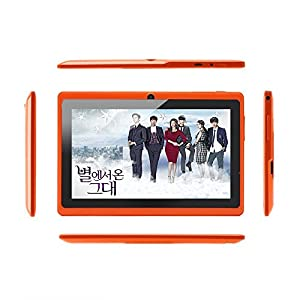 iRulu 7 inch Android Tablet PC, 4.2 Jelly Bean OS, Dual Core, Allwinner A23 CPU, Dual Cameras, 5 Point Capacitive Touch Screen, 8GB Storage - Orange