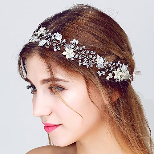 FAYBOX Bridal Vintage Crystal Pearl Hairbands Wedding Hair Accessories (Silver-tone)