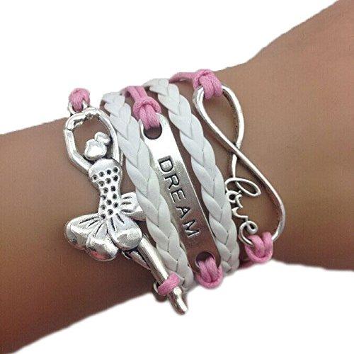 Braccialetto Bracciale Infinity ballerina rosa e bianco amore infinity