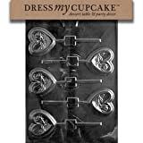 Dress My Cupcake DMCV106 Chocolate Candy Mold Heart With Roses Lollipop Valentine's Day
