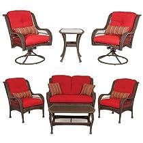 Hot Sale Bella Vista Combo: 4 Piece Seating and 3 Piece Bistro Set by La-Z-Boy Outdoor