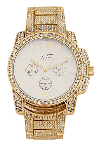 Techno Pave - Gold Bling Bling Watch with Fully Iced Out Bezel and Band with Gold Face (Fully Iced Out compare prices)
