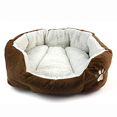 MStar Soft Warm Fleece Pet Puppy Dog Cat Kitten Bed House with Nest Pad Brown