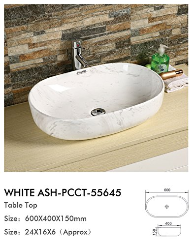 Plano Designer Sanitary ware Tabletop Wash Basin White Ash