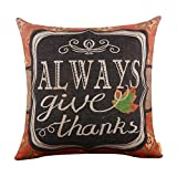 LINKWELL 18 x18 Shabby Chic American Style Ikat Happy Thanksgiving Day Burlap Cushion Covers Pillow Case