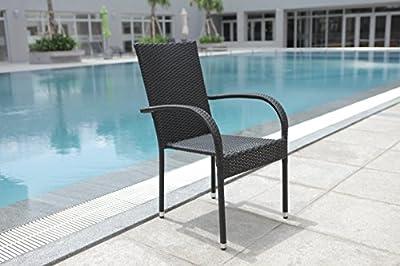 """6er Set Polyrattan Stapelstuhl Sessel """" Palermo """" in schwarz von dasmöbelwerk bei Gartenmöbel von Du und Dein Garten"""