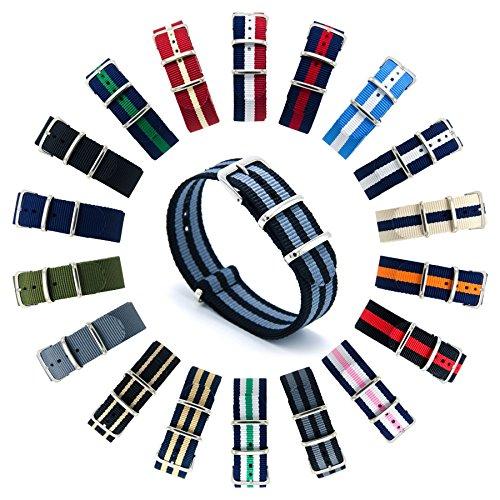 CIVO Cinturini NATO Premium Balistico Nylon Cinturino Cinghia Strap con Fibbia in Acciaio inox 22 Millimetri 18 Millimetri 20 Millimetri (Black/Smoke (Bond), 18mm)