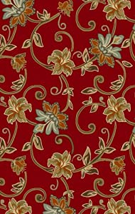 """Concord Global Norah Tropical Floral Red 3'3"""" x 5' Rug (0630)"""