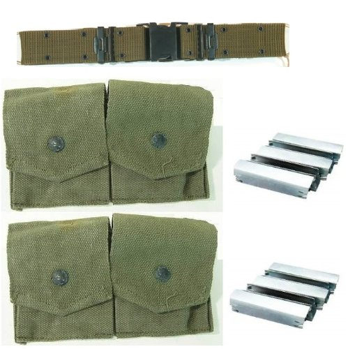 Ultimate Arms Gear Pack Of 2 Military Ammo Od Olive Drab Green Canvas Pouch Surplus Fits Mosin Nagant M38 M44 91/30 1891 91 30 7.62X54 Cartridge Clips Ammunition Rounds Dual Pouches With Adjustable Snap-Flap Covers + Pack Of 10 Reusable Steel Stripper Cli