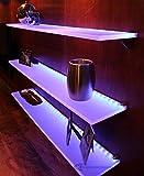 "LED Liquor Bottle Display Shelf - 2' Long x 4.5"" Deep w/ Power Supply & LED Controller, Programmable LED Remote Control"