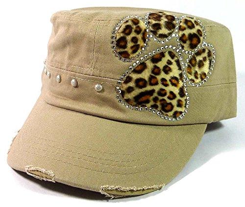 [Bling Cheetah Paw Print Cadet Hats Fashion - Khaki] (Eskimo Hat Costume)