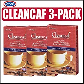 Urnex Cleancaf Coffee Maker & Espresso Machine Cleaner and Descaler 3 Pack