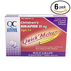 Quality Choice Children's Non-aspirin 80mg. Boxes (Pack of 6)