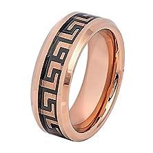 buy For Men Or Ladies - 8Mm Tungsten Carbide Rose Gold Ip High Polish Beveled Edge Black Greek Key Inlay Wedding Band Ring For Men Or Ladies