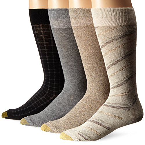 Gold Toe Men's Spring Reps Crew 4-Pack Sock, Oatmeal/Grey Heather/Taupe/Black, 10-13 Taupe Mens Socks