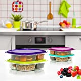 Happy Lunchboxes 3-compartment Leak Proof Bento Lunch Box Containers for Kids - Set of 4 (Small)