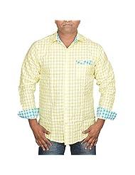 Hunk Men's Yellow Cotton Shirt