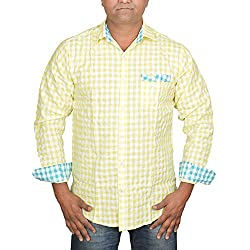 Hunk Men's yellow Cotton Shirt