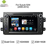 NewerStone Quad Core Android 5.1.1 Car Stereo for Suzuki SX4 2006-2012 support GPS/DVD/AM FM Radio/Steering Wheel Control/Bluetooth/Wifi/3G/AV-IN/Map Card/16 Gb Memory