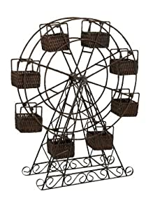 Imax Rattan and Metal Ferris Wheel with Planter Baskets