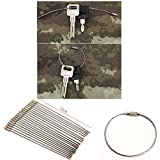 SySrion 20pcs Stainless Steel Wire Keychain Cable Key Ring for Outdoor Hiking