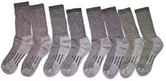 Kirkland Signature Men's Outdoor Trail Sock Merino Wool Blend Medium Black and Brown, 4 Pairs