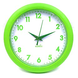 Hippih 10 Silent Quartz Decorative Wall Clock Non-ticking Black 249-B