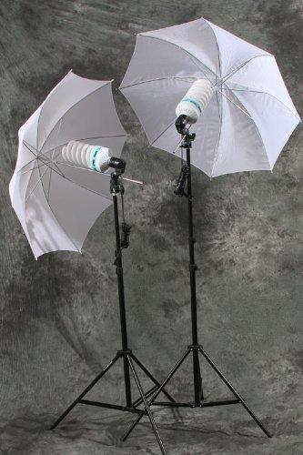 ePhoto 800 Watt Photography Studio Umbrella Cool Fluorescent Continuous Lighting Kit Set- 2 Light Stands & 2 Bulbs & 2 light holders & 2 umbrellas by ePhoto INC DK105