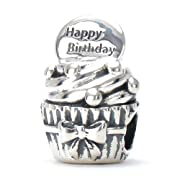 Bella Fascini HAPPY BIRTHDAY Cupcake - A Perfect Birthday Celebration Gift or for Yourself - Gift Box Included - Cole Collection - Solid 925 Sterling Silver European Charm Bracelet Bead - Compatible Brands: Authentic Pandora Chamilia Moress Troll Ohm Zable Biagi Kays Charmed Memories Kohls Persona & more!