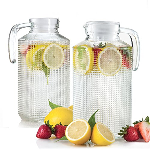 Set of 2 Glass Fridge Pitchers with Lid, Handle and Spout, Diamond Cut Design 1.8 Liter each (Glass Water Dispenser Fridge compare prices)