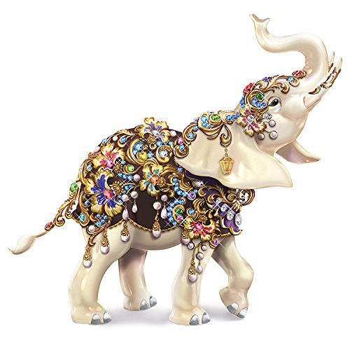 Thomas Kinkade Collectible Elephant Figurine with Dozens of Swarovski Crystals by The Hamilton Collection