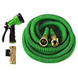 ALL NEW 2018 Garden Hose 50 Feet {IMPROVED} Expandable Hose With All Brass Connectors, 8 Pattern Spray And High Pressure, Expanding Garden Hose