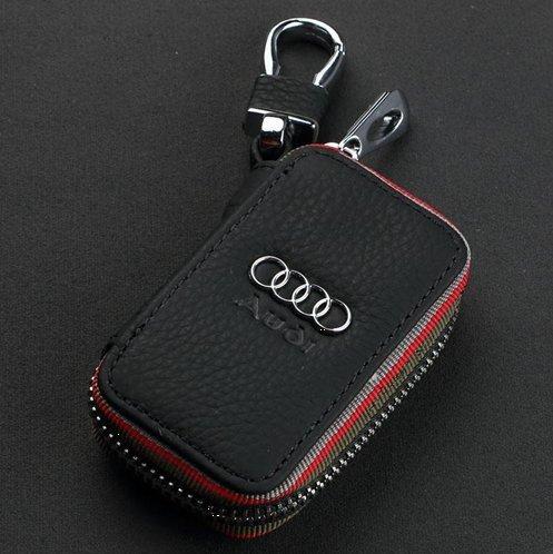 amooca-black-audi-premium-leather-car-key-chain-coin-holder-zipper-case-remote-wallet-bag