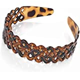 Useful brown tortoiseshell effect head band, alice band with comb inset. Attractive pierced lattice design. Classic hair accessory.