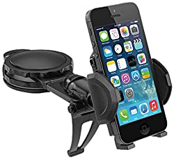 Macally DMOUNT Fully Adjustable Car Dash Suction Cup Mount for iPhone, iPod, Smartphones and Most GPS - Black