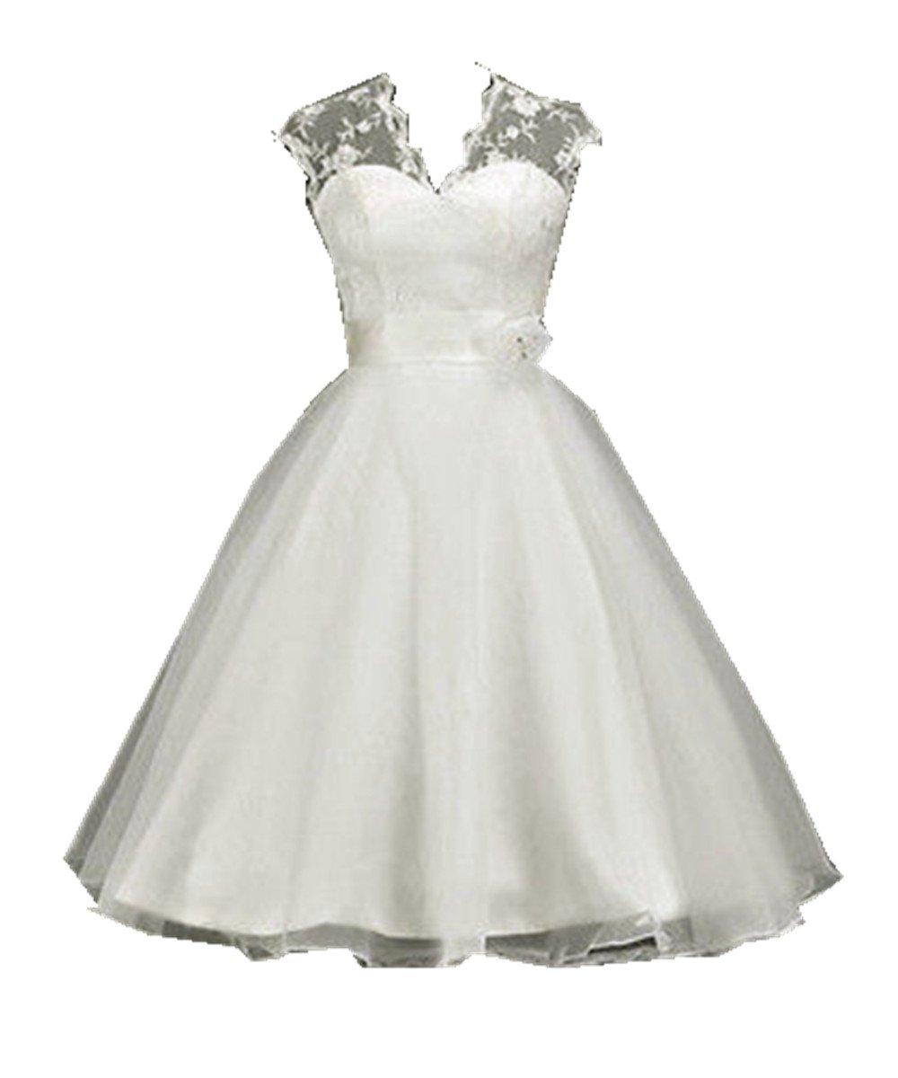 Zorabridal Women's Cap Sleeve A-line Tea Length Lace Vintage Short Wedding Dresses 0