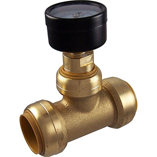 SharkBite 24440 Brass Push-to-Connect Tee with Water Pressure Gauge, 1