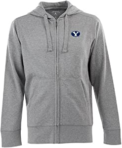 Brigham Young Signature Full Zip Hooded Sweatshirt (Grey) by Antigua