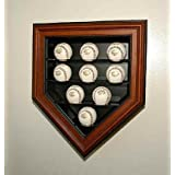 9 Ball Home Plate Cabinet Style Display Case (Mahogany Finish) by Caseworks