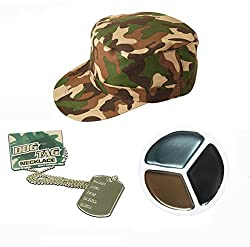 Army Fancy Dress Camouflage Hat Dog Tags Face Paint Mens Ladies Unisex