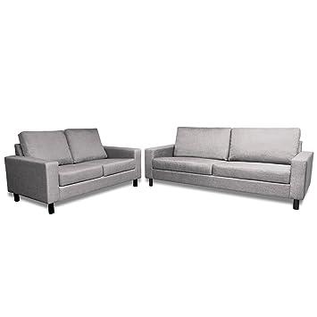 vidaXL Sofa Set 2-Sitzer und 3-Sitzer Hellgrau