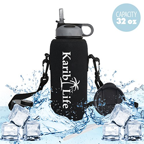 Karib Life Insulated Water Bottle , Cold 24 Hrs , Hot 12 Hrs , Stainless Steel Double Walled , Wide Mouth Thermos 32oz Capacity (Aluminium Water Jug compare prices)