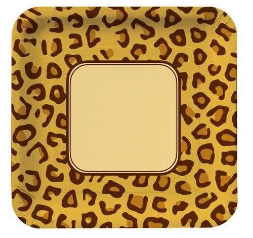 Creative Converting Animal Print Leopard Square Large Banquet Plates, 8 Count