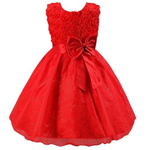 Katara Flower-Girl, Vestito Festivo da Sera con Nodo, Età 8-10 Anni, Rosso