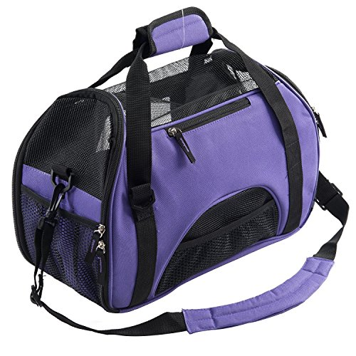 X-Sunshine Modern Pet Dogs Cats Carrier Comfort Airline Approved Travel Handbag Tote Soft Sided Shoulder Bag Up to 7 lbs 16.5″L X 8″W X 11.4″H, Purple