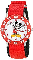 Disney Kids W001573 Time Teacher Mickey Mouse Stainless Steel Watch with Red Nylon Strap