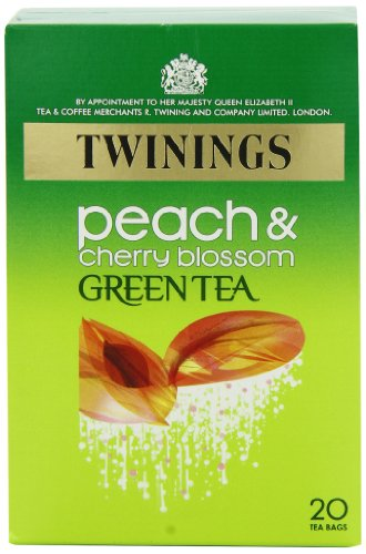 Twinings Peach and Cherry Blossom Green Tea Bags 40 g 20 Tea Bags (packs of 4 total 80 teabags)